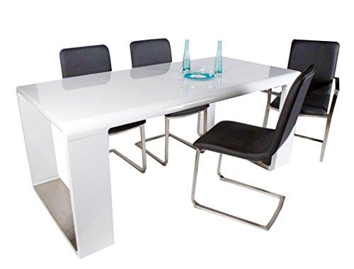 expendio Esstisch Marlon Weiß Hochglanz 100(180) x90x78 cm Esszimmertisch Küchentisch Tisch Speisetisch