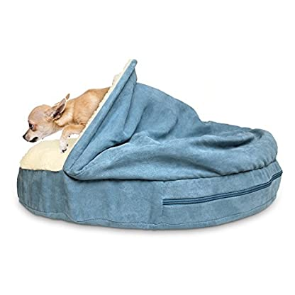 Furhaven Pet Dog Bed   Orthopedic Round Faux Sheepskin Snuggery Burrow Pet Bed for Dogs & Cats, Blue, 18-Inch 4