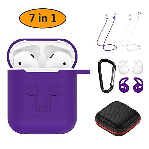 Hianjoo für Apple AirPods Case, 7-in-1 Silikonhülle Kompatibel mit Apple AirPods mit Anti-Loss Strap/ Karabiner/ PU Hülle - [Stoßfeste Schutzhülle] [Perfekt Passt Hülle] [Schlank und Leicht] - Lila