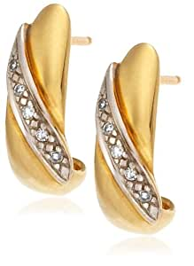 9ct Two Tone Gold AME108151 Ladies 0.05ct Diamond Stud Earrings