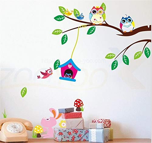 lafzimmer Entfernbare Kunst 3D Wandaufkleber Tapete Wandbild Wallpaper Hintergrund Dekor Eule Im Blockhaus ()