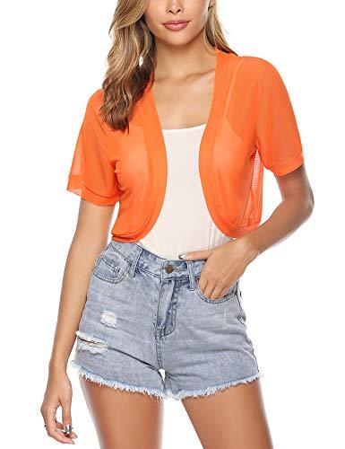 Abollria Damen Elegant Kurzarm Bolero Leicht Transparent Cardigan aus Weich Mesh Festlich Jäckchen zum Kleid,Orange,XXL (Orange Und Blazer)