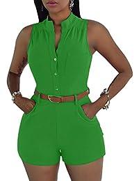 ZiXing Femmes Combinaison Short V Neck Clubwear Sans Manches Salopette  Rompers Bodysuit Jumpsuit Pantalons Ceinture 3564a947629