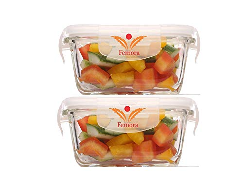 Femora Borosilicate Glass Microwave Safe Square Container, 300 ml - Set of 2