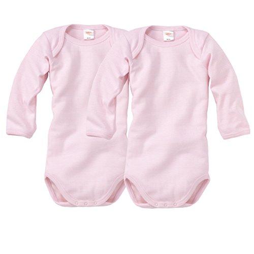 wellyou, 2er Set Kinder Baby-Body Langarm-Body, rosa weiß gestreift, geringelt, Feinripp 100% Baumwolle, Größe 56-62