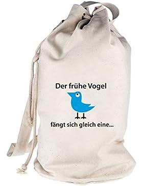 Der frühe Vogel fängt sich gleich eine, bedruckter Seesack Umhängetasche Schultertasche Beutel Bag