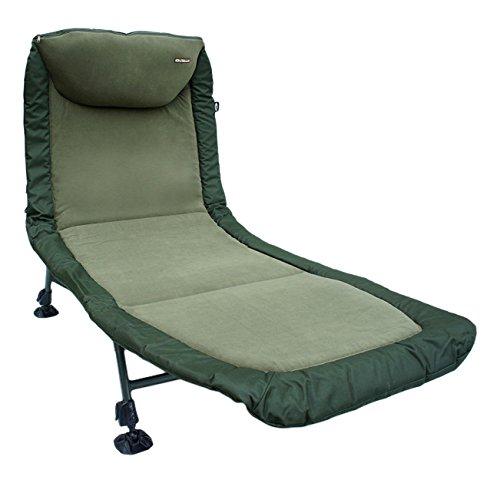 Classsic Unisex Anglersessel 6verstellbaren Beinen Stuhl mit Kissen Camping, Grün, ONE Size -