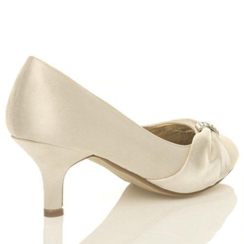 Femmes talon bobine moyen élégant mariée soirée chaussures de mariage escarpins Ivoire