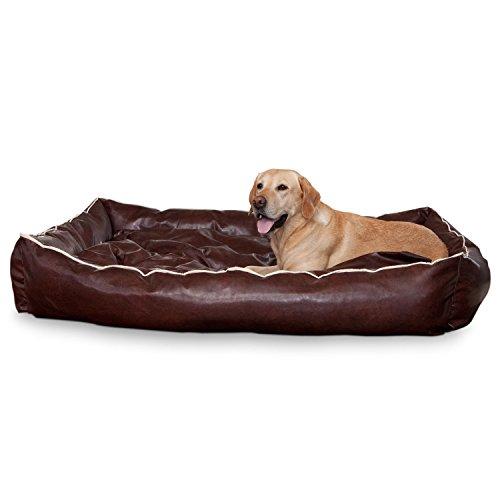 Smoothy Hundekorb aus Leder; Hunde-Körbchen; Hundebett für Luxus Vierbeiner; Braun Größe XXL (145x100cm) - 2