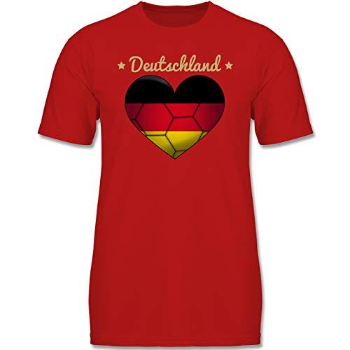 Handball WM 2019 Kinder - Handballherz Deutschland - 140 (9-11 Jahre) - Rot - F130K - Jungen Kinder T-Shirt