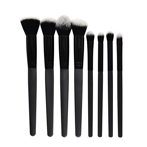 Cdet. 8Pcs Kit De Pinceau Maquillage avec Manche en Plastique Brush Cosmétiques Ensemble Fondation Mélange Blush Yeux Visage Poudre Brosse Make Up Noir