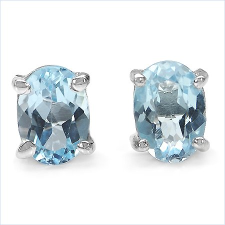 Jewelry-Schmidt-Blue topaz earrings 2.00 carats-925 Sterling Silver - Rhodium-plated