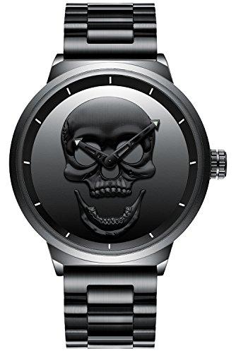 Herren Großes Gesicht Uhren Schwarz Männer Luxus Einfacher Designer Armbanduhr Edelstahlband 30M Wasserdicht Analog Quartz Geschäft Lässig Uhr Schwarz Dial