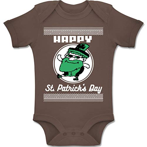Anlässe Baby - Happy St. Patrick's Day Pixel - 1-3 Monate - Braun - BZ10 - Baby Body Kurzarm Jungen - Weiß Und Nerdy Kostüm