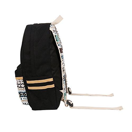 Rucksack Damen Mit, Marsoul rucksack im rucksack, rucksack damen rucksack mädchen Weinlese-stilvolle 14 - Zoll - Rucksack Damen-Beutel Rucksack Zigeuner Schwarz