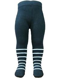BOMIO | gemusterte Baby-Strumpfhose | Baumwollstrumpfhose mit kindgerechten Motiven | elastische Kinder-Strumpfhosen | geprüft nach EN 71 | Schwarz/Weiß gestreift