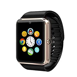 LG KC910i Renoir Compatible Certified Bluetooth Smart Watch GT08 Wrist Watch Phone with Camera & SIM Card Support Hot Fashion New Arrival Best Selling Premium Quality Lowest Price with Apps like Facebook, Whatsapp, QQ, WeChat, Twitter, Time Schedule, Read Message or News, Sports, Health, Pedometer, Sedentary Remind & Sleep Monitoring, Better Display, Loud Speaker, Microphone, Touch Screen, Multi-Language, Compatible with Android iOS Mobile Tablet PC iPhone-BLACK BY VELL- TECH