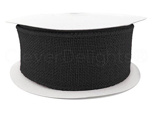 CleverDelights Sackleinenband mit Draht, 6,4 cm breit, Schwarz (Chevron Garland)