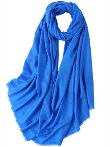 Prettystern - donne sciarpa lana fibre twill xl 210cm frange corte tinta unita lunga pashmina stola - blu reale