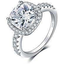 JewelryPalace 3ct Magnifique Bagues de Fiançaille Femme Alliance Mariage Anniversaire en Argent Sterling 925 en Zircone Cubique de Synthèse CZ
