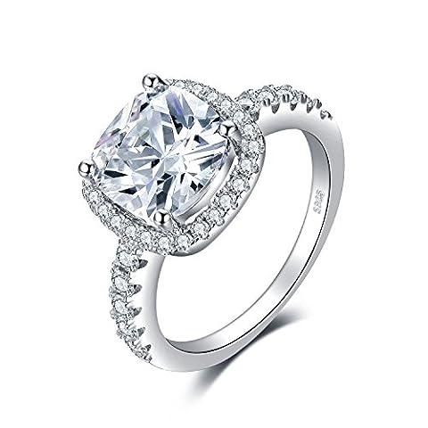 JewelryPalace Coussin 3ct Zircone Cubique Mariage Halo Solitaire Fiançailles Bague en Argent 925