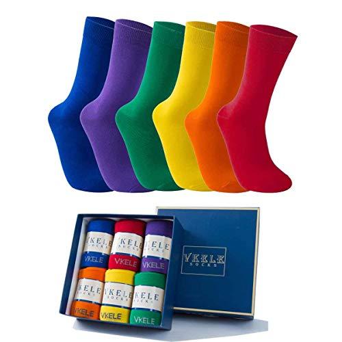 Vkele 6 Paar einfarbige Socken Geschenkpack, kariert, bunt, punkte, gestreift, Business Herrensocken, Crew Socken, Baumwolle, Gr. 39-46, 43-46, Bunt Ⅰ Orange Karierte