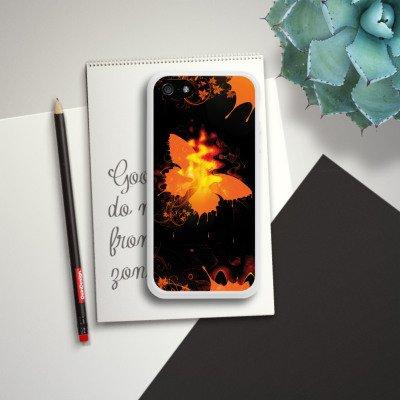 Apple iPhone 4 Housse Étui Silicone Coque Protection Papillon Feu Feu Housse en silicone blanc