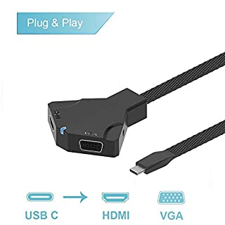 USB Type C to 4K HDMI VGA Adapter with 3.5 Audio Jack for Dell XPS 13 XPS 15 S9 to TV/Monitor/Projector