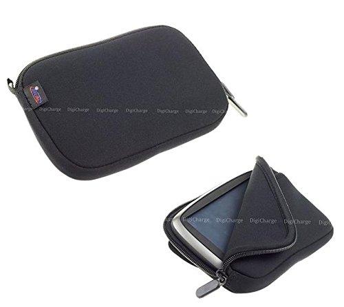 Digicharge® 4.3'' Zoll Schwarz Neopren-Hülle Navibag Tasche für Sat Nav Navi Satellitennavigation Inklusive Zubehörtasche -