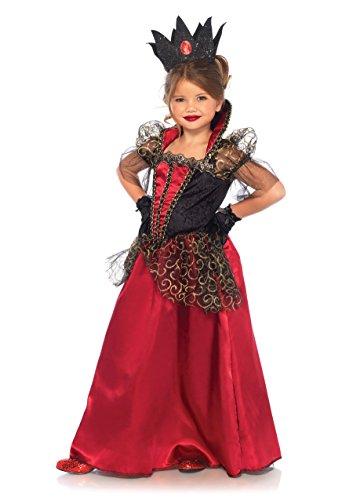 Leg Avenue Kinder Mädchen Böse Königin Kostüm schwarz rot M 7-10 Jahre (Böse Hexe Kostüm Kinder)