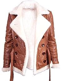 Frauen Lammfell hallbraun Leder Fliegen Jacken Mantel