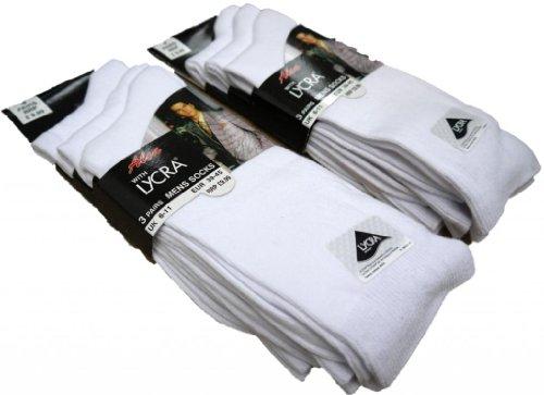 Cotton Soft Top Socken (3 Paar, Baumwolle mit Lycra-Glattstrick-Socken, Gr. 39-46 (UK 6-11) und 11-14, Weiß, UK 6-11 Eur 39-45)