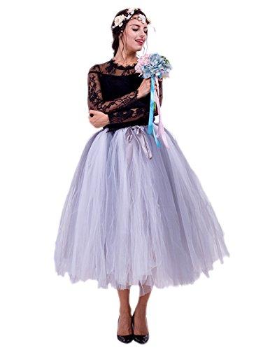 Honeystore Damen's Tüllrock Maxirock Lang Tüll Rock Tutu Hochzeit und Party Prinzessin Ballettrock One Size Grau und Weiß (Crinkle-rock Rosa)
