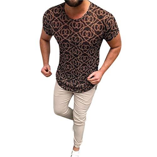 Luckycat Sport T-Shirt Herren Slim Fit Kurzarm Shirt Bluse für Jogging Yoga Männer Tops T-Shirt Herren Oversize Vintage Style Crew-Neck T-Shirt Irregulär Sweatshirt Kurzarm Hedging Slim Fit Bluse -