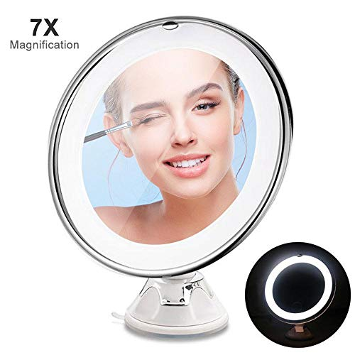 leegoal Kosmetikspiegel LED mit Licht, 7 Fach Vergrößerung, Tragbarer Cosmetic Mirror mit Strong Suction Cup, 360°Rotation, Compact, Akku-Vermeidung