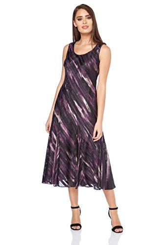 Roman Originals Damen Satin-Steifen-Kleid im Bias Cut Lila - 38 (Damen-bias-cut)