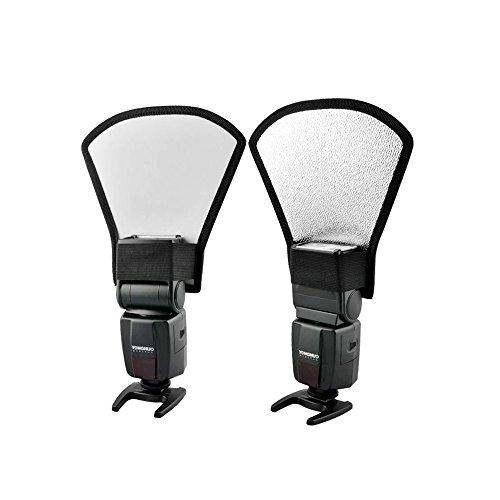 Andoer Reflector universal para Flash Speedlite difusor de flash Caja de luz Reflector Plata / blanco para Speedlite de Canon Nikon Pentax Yongnuo