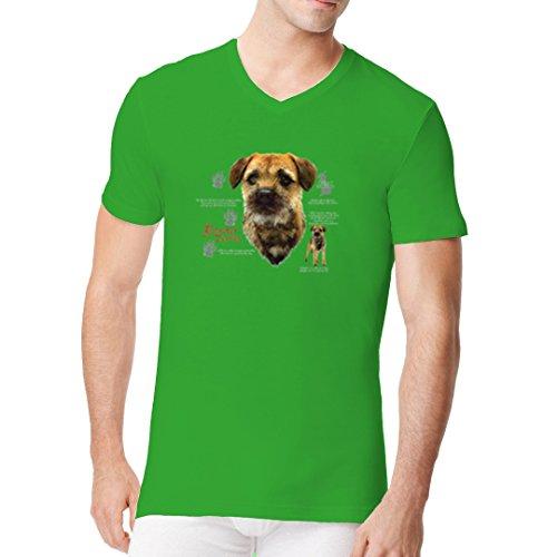 Im-Shirt - Border Terrier Hund cooles Fun Men V-Neck - verschiedene Farben Kelly Green