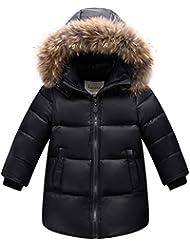 LSERVER-Unisex Abrigo Con sombrero de Los Niños y Las Niñas en Invierno