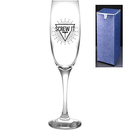 fantaisie gravé/imprimé Prosecco Flûte à champagne – Vis IT, Noir, Do Not Engrave A Message On The Reverse Side