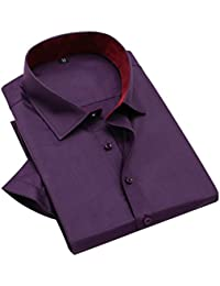 Hombre manga corta slim fit Camisas de vestir cuello mao