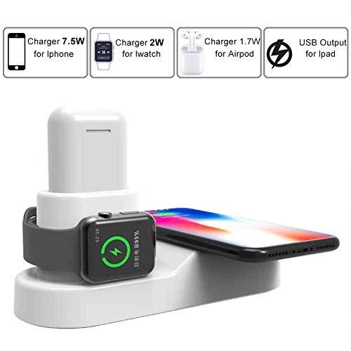 LOVEQIZI Schneller kabelloser Ladeständer für iPhone XS Max/Xs/XR/X / 8/8 Plus, 3-in-1-Ladestation für iPhone, Apple Watch Series 3/2/1 & AirPods, Ladestation für iWatch & EarPods,White -