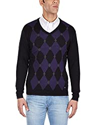 Arrow Newyork Mens V-Neck Wool Blend Sweater (8903952609685_AKMY8381_XL_Black)