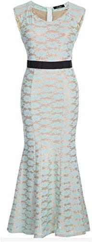 YOGLY Damen Kleid Elegant V-Ausschnitt Maxi Spitze Rückenfrei Chiffon Abendkleider Festkleid Ballkleid Partykleid Cocktailkleid Grün Schwarz Weiß Grün