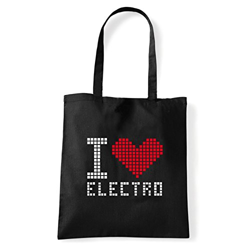 Art T-shirt, Borsa Shoulder I Love Electro, Shopper, Mare Nero