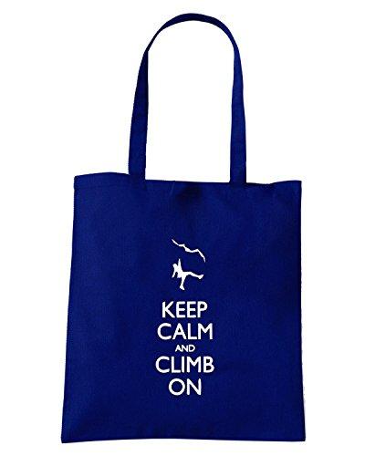 T-Shirtshock - Borsa Shopping SP0090 Keep Calm and Climb on Maglietta Blu Navy