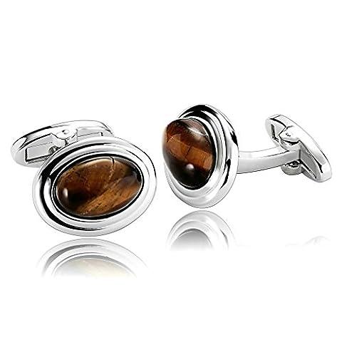 anazoz Fashion Jewelry Design 1Paire de boutons de manchette pour homme en acier inoxydable Grand Ambre Ovale Marron hommes Boutons de manchette