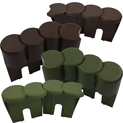 PROHEIM Rasenkante Palisade 1 Meter 9 Elemente Beetbegrenzung aus 100% recyceltem Kunststoff Beeteinfassung witterungsfest UV-beständig Beetumrandung Höhe & Farbe wählbar