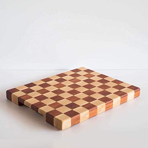 Tagliere da cucina a scacchi in legno