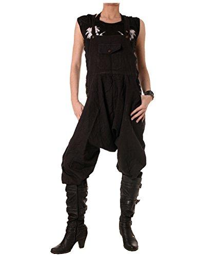 Vishes – Alternative Bekleidung – 3/4 Latzhose aus Baumwolle schwarz 42